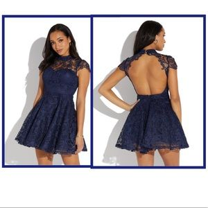 Dresses & Skirts - Open Back Lace Overlay Fit and Flare Mini Dress
